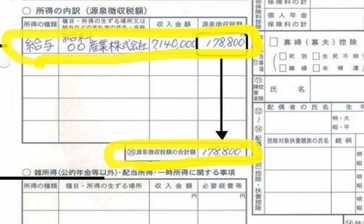 確定申告書A(第二表)所得の内訳