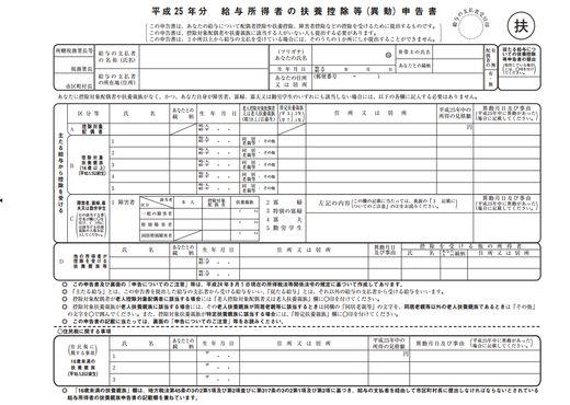 平成28年分給与所得者の扶養控除等(異動)申告書